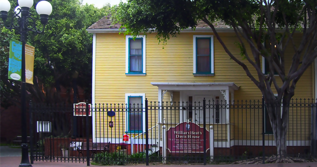 This quaint two story yellow clapboard house is a prfab, imported by William Heath Davis, to start the new, quarter of right. It failed.