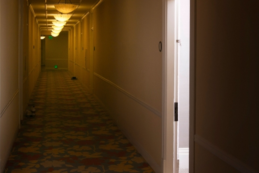 possibly haunted interior hallway of hotel del coronado