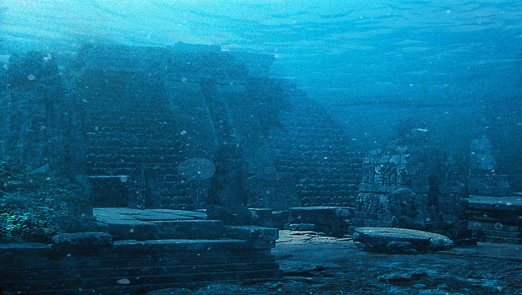 a CGI image of the lost city of dwarka's pyramids