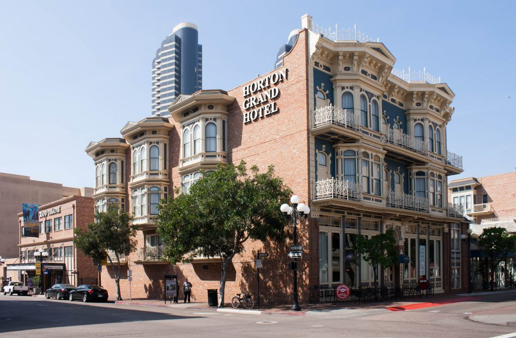 photo shows the facade of the Horton Grand hotel, with ornate architecture.