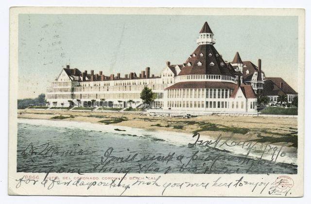 photo is of a vintage postcard showing the Hotel Del Coronado