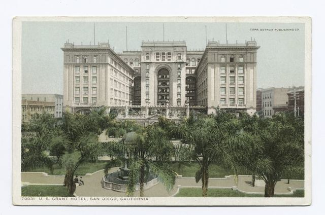 photo is a vintage postcard of the US Grant Hotel